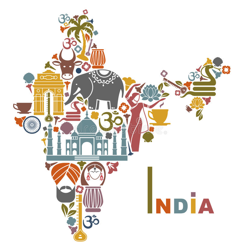 Map of India. Traditional symbols in the form of a map of India