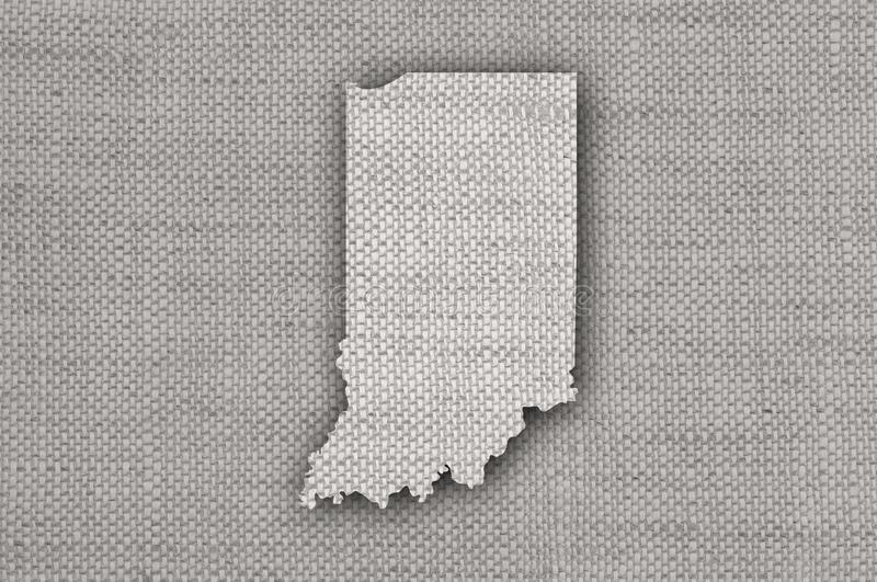 Map of Indiana on old linen. Detailed and colorful image of map of Indiana on old linen royalty free stock photo