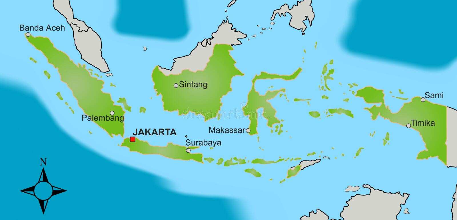 Map of Indonesia royalty free illustration