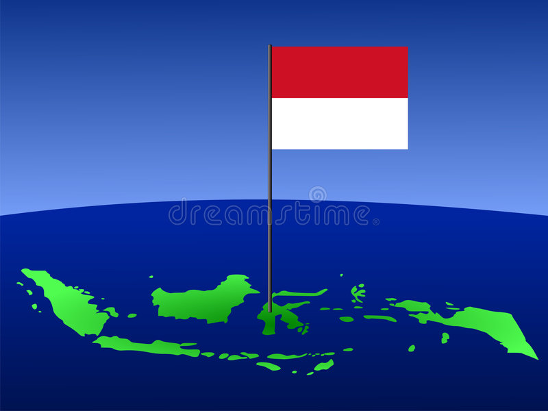 Map of Indonesia with flag royalty free illustration