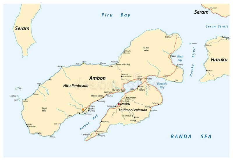 Map of the Indonesian island Ambon belonging to the Maluks.  vector illustration