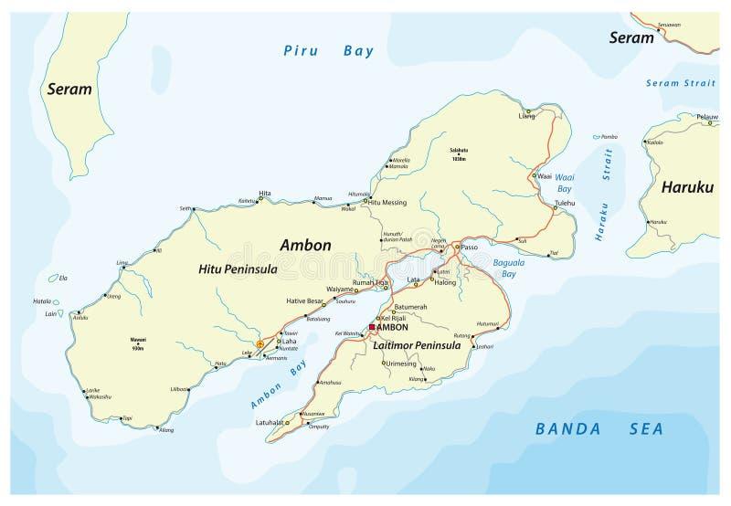 Map of the Indonesian island Ambon belonging to the Maluks.  stock illustration