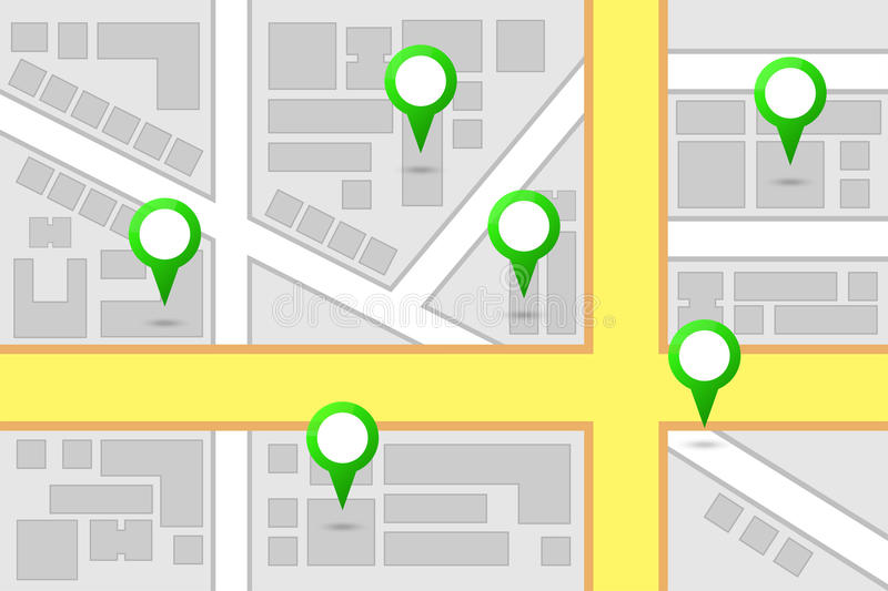 Map Interest Points. City Map Main Interest Points royalty free illustration