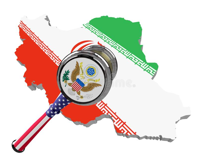 Map of Iran. United States sanctions against to Russia. Judge hammer United States of America, flag and emblem. 3d illustration. I royalty free illustration