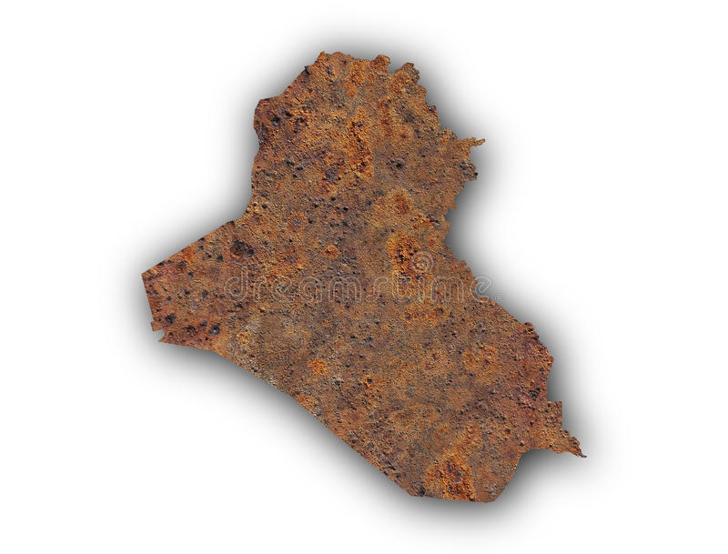 Map of Iraq on rusty metal. Colorful and crisp image of map of Iraq on rusty metal stock photos