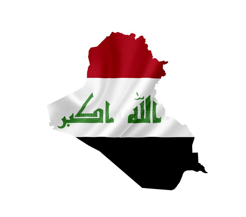 Map of Iraq with waving flag isolated on white royalty free stock photo