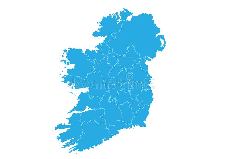 Map of ireland. High detailed vector map - ireland. Map shape/contour/outline/border with state isolate on white background vector illustration