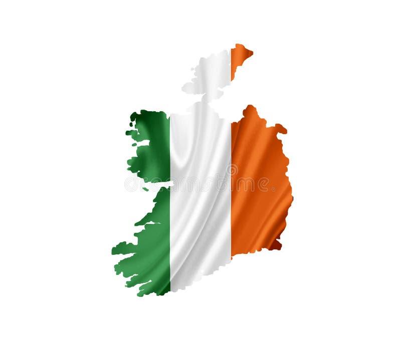 Map of Ireland with waving flag isolated on white stock photo