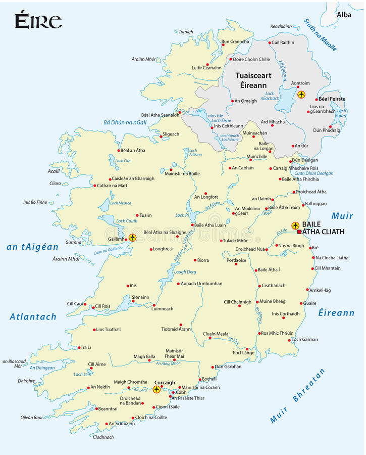 Map Of The Irish Republic In Irish Gaelic Language Stock - Irish language map