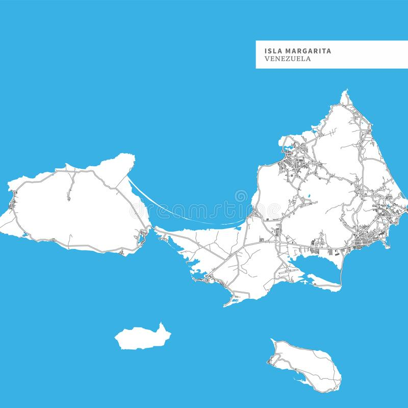 Map of Isla Margarita. Venezuela, contains geography outlines for land mass, water, major roads and minor roads vector illustration