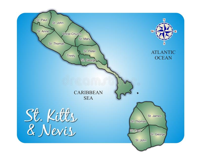 Download Map Of Island St. Kitts (Saint Christopher/Nevis) Stock Vector - Illustration of kitts, also: 11151918