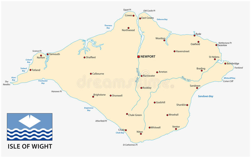 Map of isle of wight with flag. Isle of wight map with flag royalty free illustration