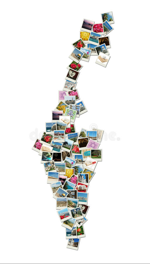 Map of Israel,collage made of travel photos ac royalty free stock photography
