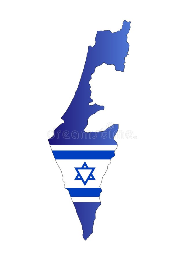 Map Israel and flag. Vectorial map and flag of Israel country stock illustration