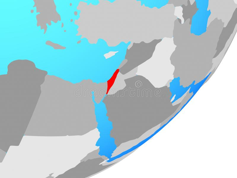 Map of Israel on globe. Israel on blue political globe. 3D illustration vector illustration