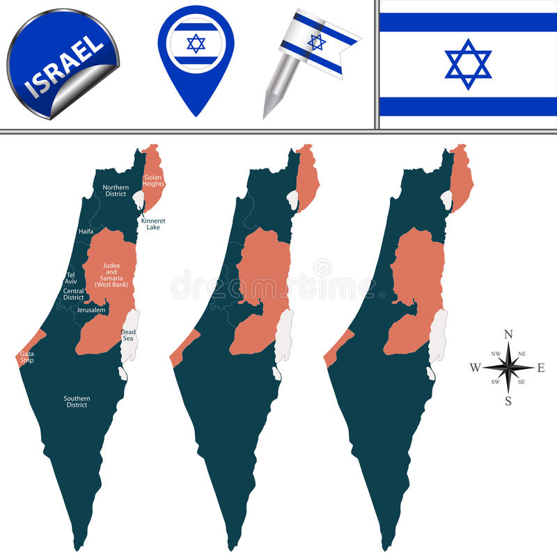 Map of Israel with named districts. Vector map of Israel with named districts and travel icons stock illustration