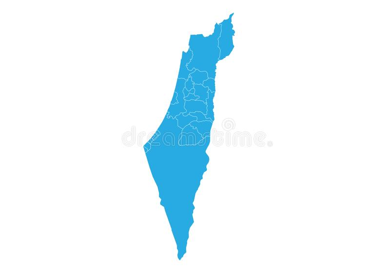 Map of israel Palestine. High detailed vector map - israel Palestine. Map shape/contour/outline/border with state isolate on white background vector illustration