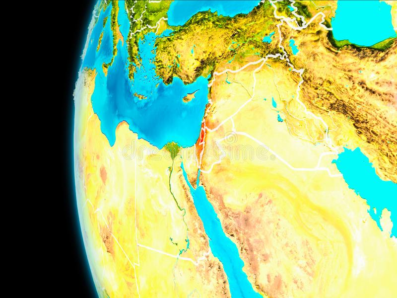 Map of Israel in red. Israel as seen from Earth's orbit on planet Earth highlighted in red with visible borders. 3D illustration stock illustration