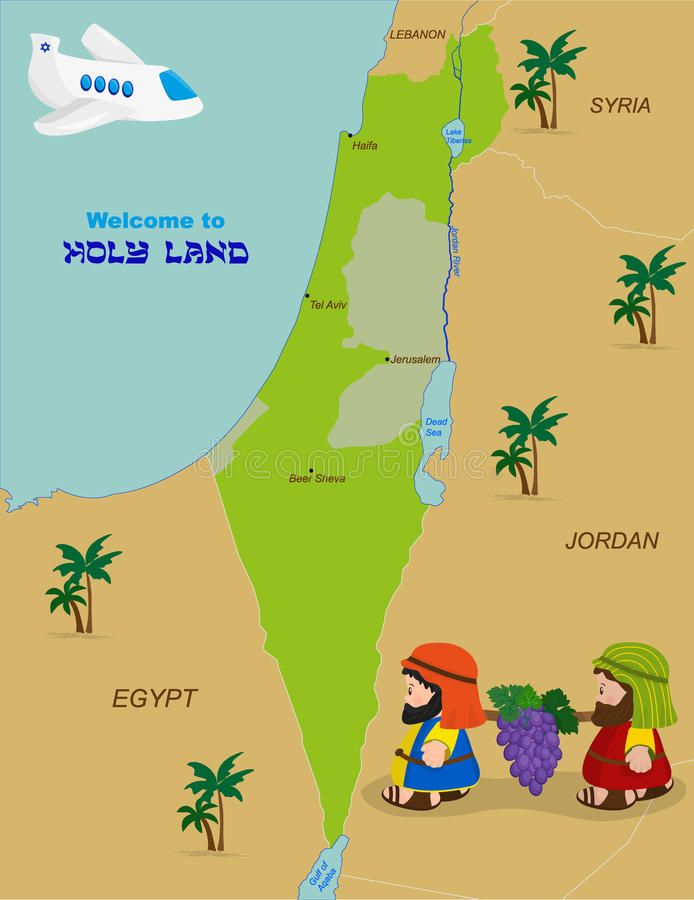 Map of Israel with two spies. Welcome to Holy Land, map of Israel with cartoon characters of Two spies of Israel carrying grapes. Vector illustration vector illustration