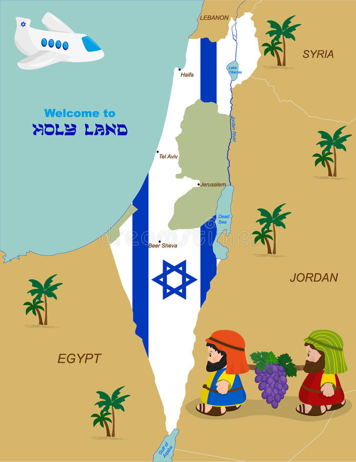 Map of Israel with two spies stock illustration