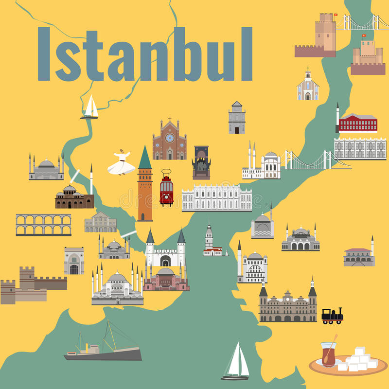 Map of Istanul stock images
