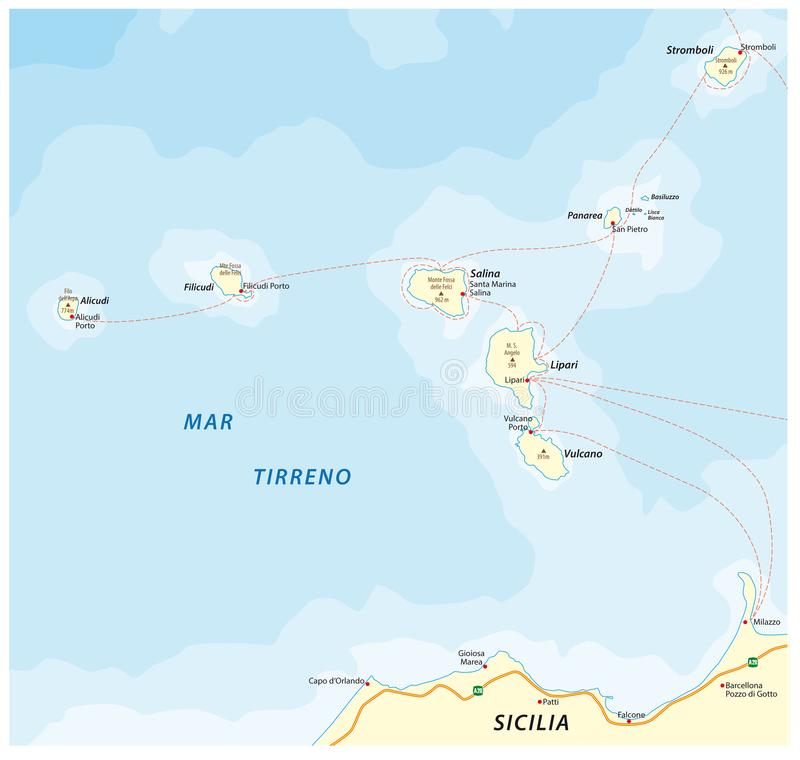 Map Of The Italian Island Group Aeolian Islands In The Tyrrhenian