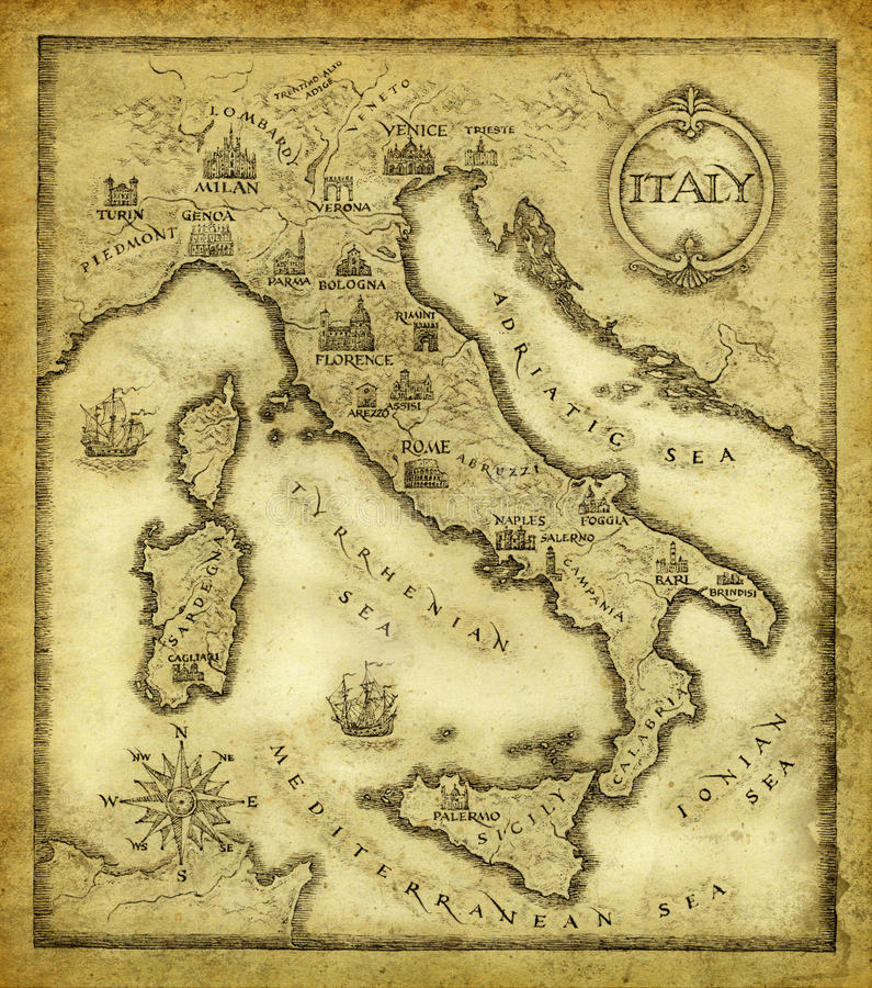 Map of Italy stock illustration
