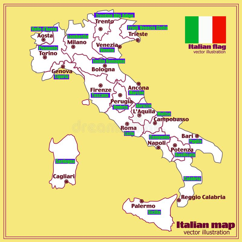 Italy Map With Italian Regions Vector Stock Vector Illustration