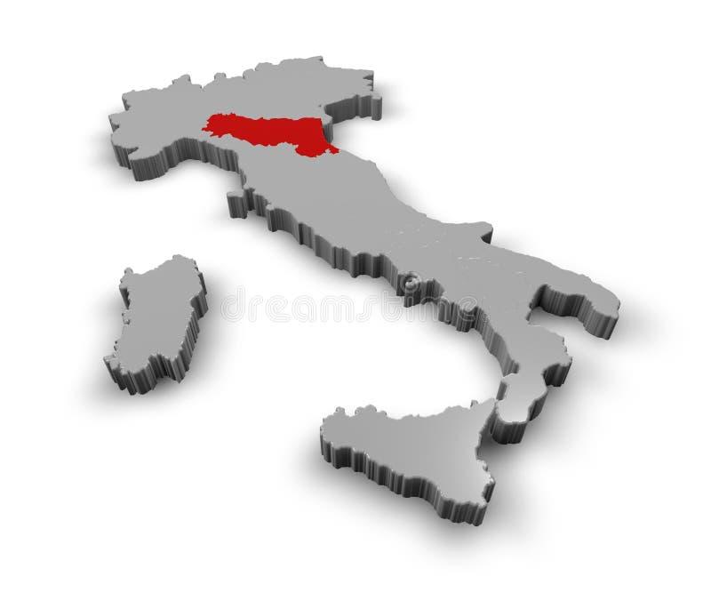 Map of Italy Emilia Romagna stock illustration