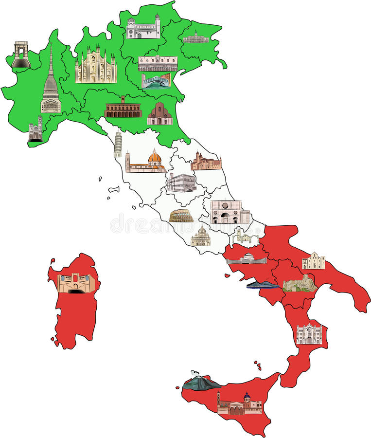 Map of Italy with sights in watercolor stock photos