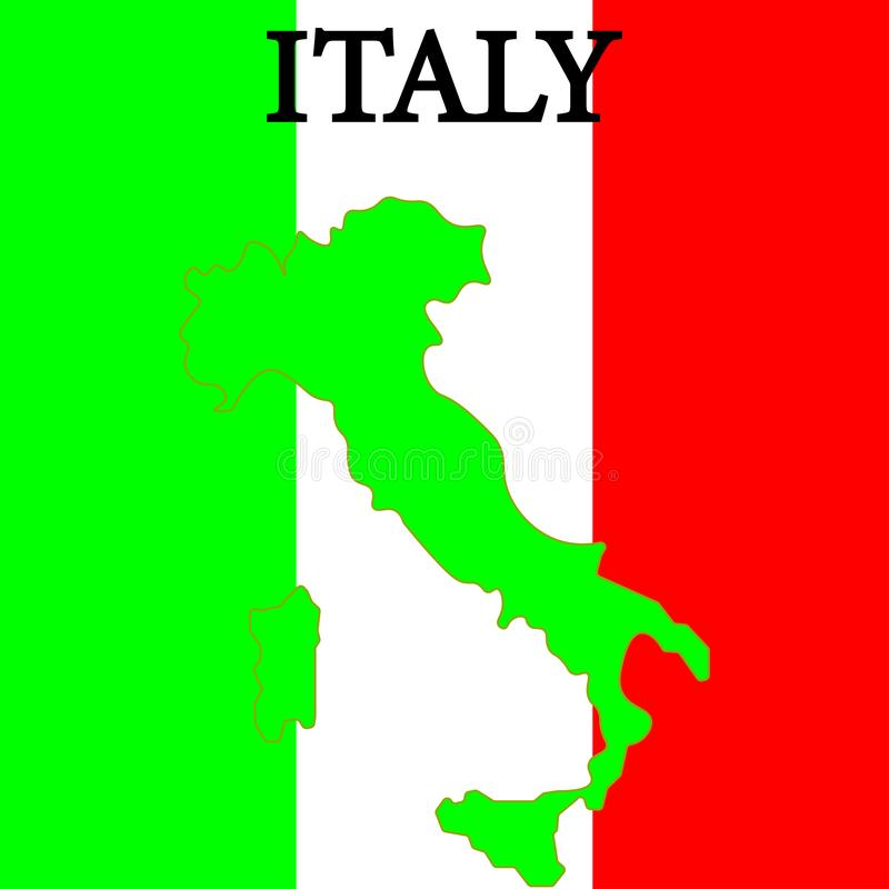 Map of Italy sign. Italy flag badge. Eps ten stock illustration