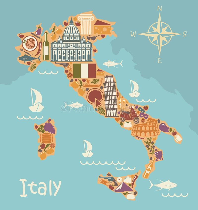 Map Of Italy With Traditional Italian Symbols Stock Vector