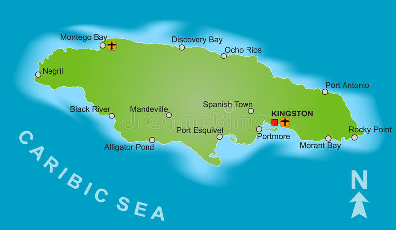 Map of Jamaica. A stylized map of Jamaica showing different big cities vector illustration