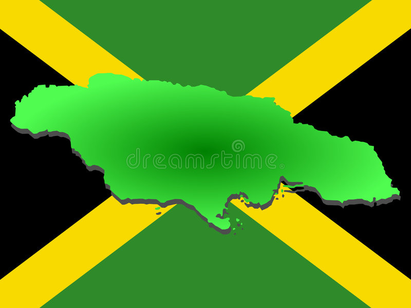 Map of Jamaica. And Jamaican flag illustration royalty free illustration