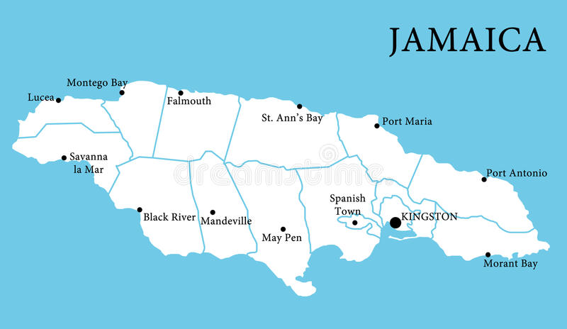 Map of Jamaica stock illustration Illustration of city 24914228
