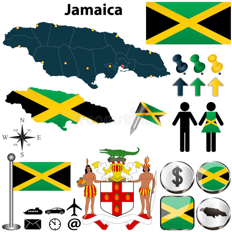 Map of Jamaica. Vector of Jamaica set with detailed country shape with region borders, flags and icons stock illustration