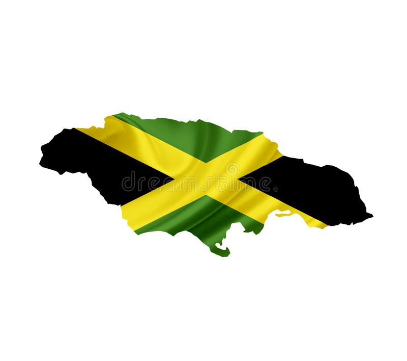 Map of Jamaica with waving flag isolated on white stock image