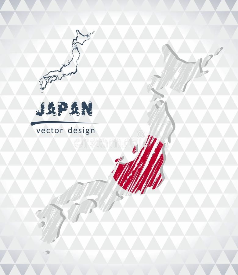 Map of Japan with hand drawn sketch pen map inside. Vector illustration vector illustration
