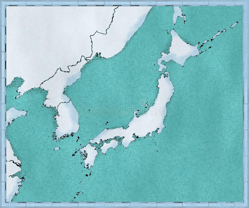 Map of Japan, North Korea and South Korea, physical map Asia, East Asia, map with reliefs and mountains and Pacific Ocean stock illustration