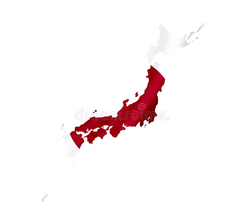Map of Japan with waving flag isolated on white stock photo
