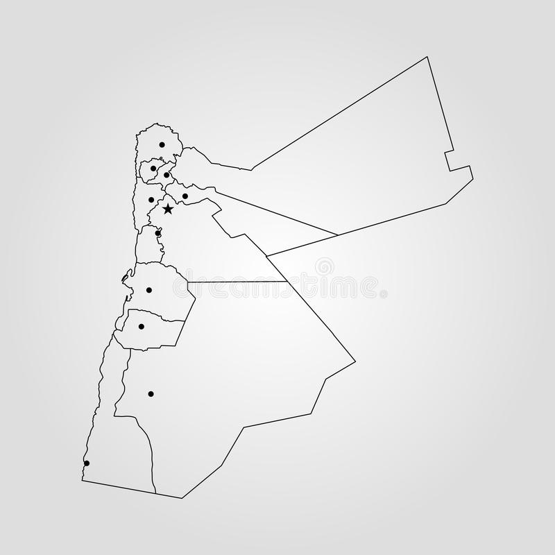 Map of Jordan stock illustration Illustration of color 103892391