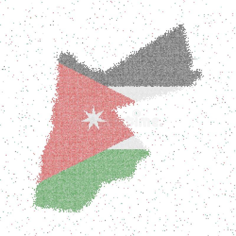 Map of Jordan. Mosaic style map with flag of Jordan. Vector illustration stock illustration