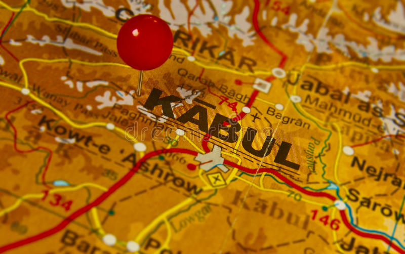 A Map of Kabul, Afghanistan. A closeup of a map of war torn Afghanistan, focused on the capital city of Kabul stock photos