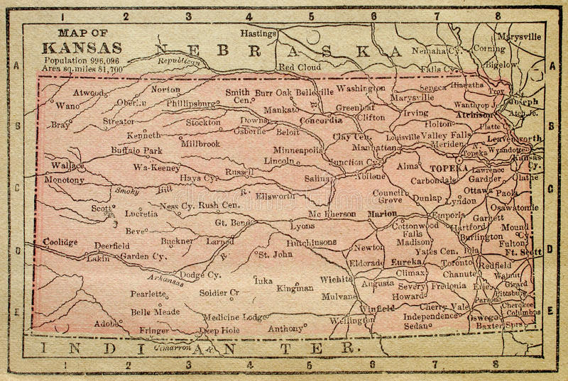 Map Of Kansas Stock Illustration Image Of Texture Grungy - Map of kansas