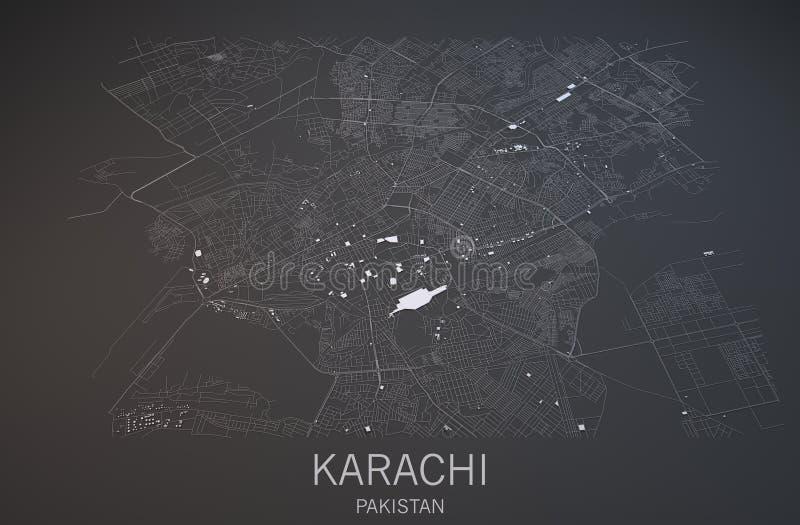 Map of Karachi, Pakistan, satellite view. Map in 3d stock illustration