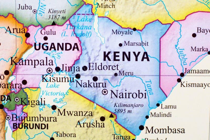 Map of Kenya. Its capital city is Nairobi royalty free illustration