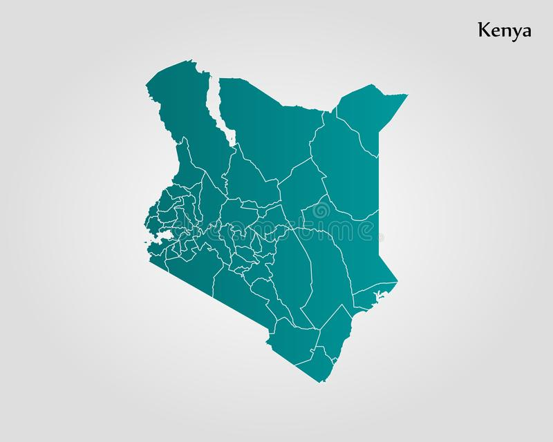 Map of Kenya. Vector illustration. World map vector illustration