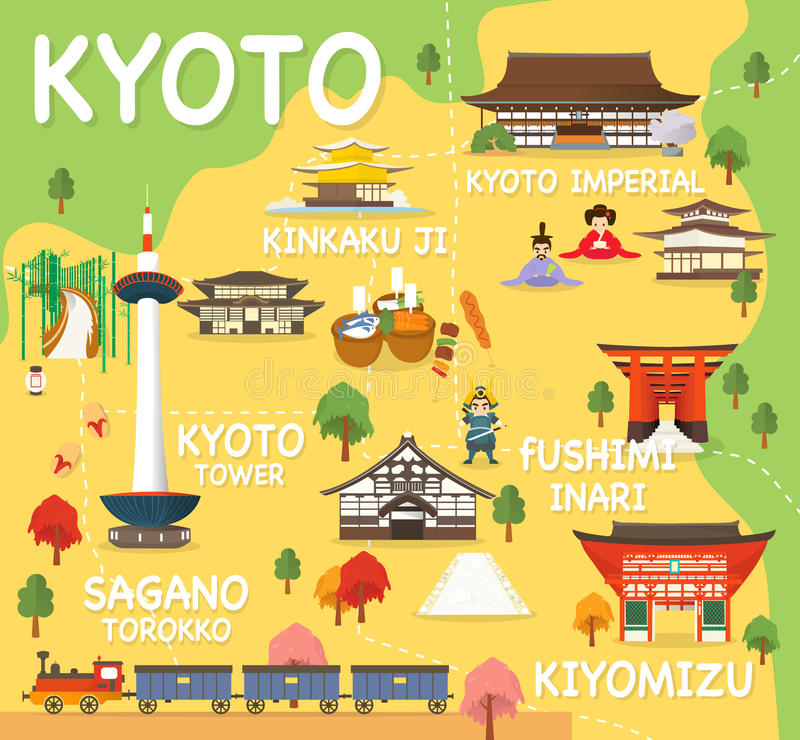 Map Of Kyoto Attractions Vector And Illustration Stock Illustration