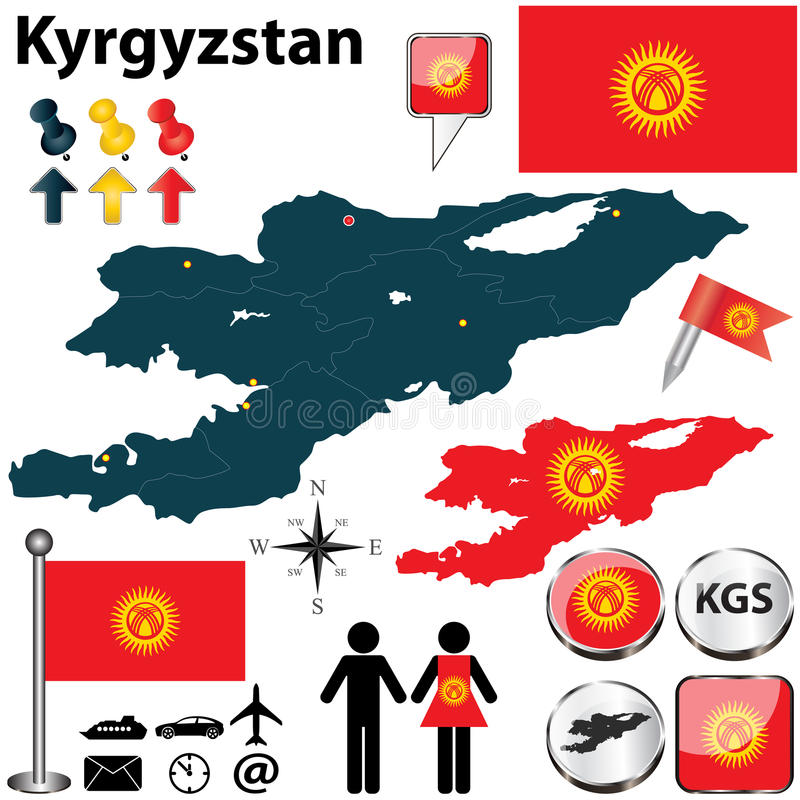 Map of Kyrgyzstan royalty free stock photos