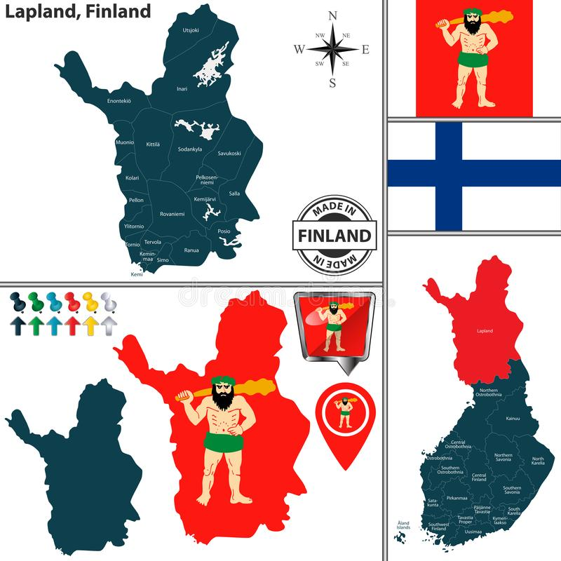 Map of Lapland, Finland. Vector map of Lapland region and location on Finnish map stock illustration